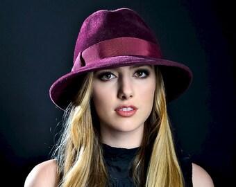 Burgundy Fedora Hat Women's Hat Spring Fashion Spring Accessories Fall Fashion Women's Fedora Hat Wide Brimmed Hat Winter Accessories