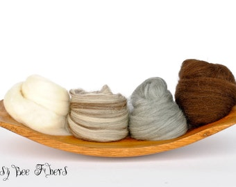 4 SHADES OF MERINO Undyed Soft Natural Combed Top Wool Roving Spinning Felting fiber - 4 oz