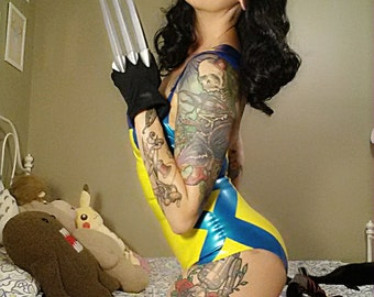 Pin Up Wolverine Latex Cosplay Costume Small
