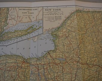 1912 State Map New York State - Vintage Antique Map Great for Framing 100 Years Old