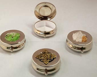 Round Pill Box Nickel plated Sea Glass Crushed Glass Steampunk