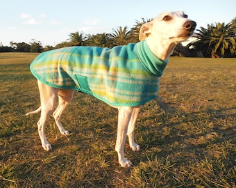 plaid checks in aqua and lime...winter coat for a whippet in vintage wool blanket and polar fleece