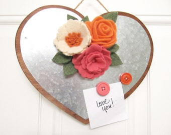 Valentines Day Heart Decoration Magnetic Memo Board with Roses Rustic Wedding Decor Wedding Hanger Wedding Wreath Valentines Flowers  54