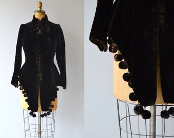 Victorian Pom Pom jacket | velvet antique Victorian jacket | 1800s fitted coat