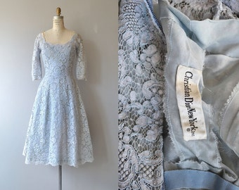 Christian Dior dress | vintage 50s Dior lace dress | blue lace 50s dress