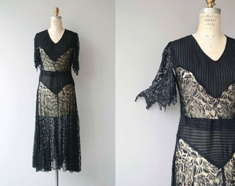 Incantation lace dress | vintage 1920s dress | black lace 20s dress