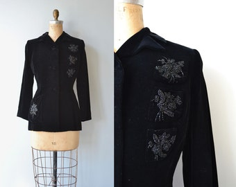 Night Song velvet jacket | vintage 1950s jacket | black velvet 50s jacket