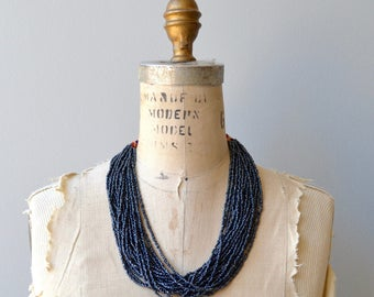 Prussian Blue necklace | multi stand beaded necklace | chunky beaded necklace