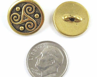 TierraCast Pewter Celtic Buttons-GOLD TRISKELE SPIRAL (2)