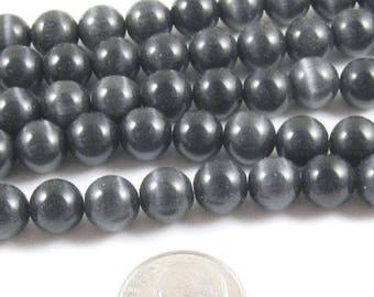 8mm Round Cat Eye Beads-DARK GRAY (50 beads)