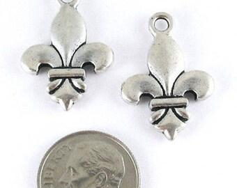 TierraCast Pewter Double Sided Pendants-Silver FLEUR DE LIS 16x24mm (2 Pieces)