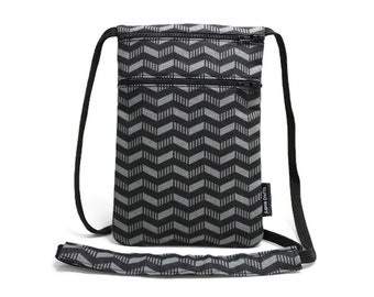 Small Travel Pouch, Passport Holder, Neck Wallet, Cross body bag, Travel accessory - Patterned Chevron Black and Grey