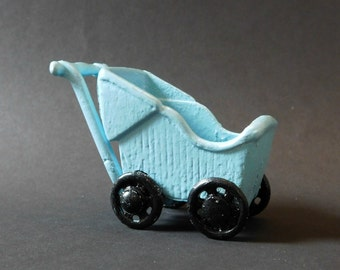 Vintage 1930s Kilgore Cast Iron Dollhouse Baby Stroller Buggy , RARE in Powder Blue Painted Black Wheels Pristine Condition