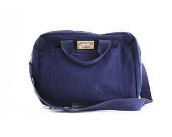 Vintage Lands End Square Rigger Navy Blue Canvas Messenger Bag Briefcase
