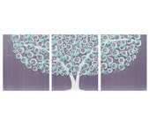 ON SALE Wall Art for Girls Room - Flower Tree Painting on Canvas Triptych - Purple and Aqua Large 50x20