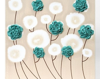 Teal Wall Decor - Textured Rose Flower Painting on Small Canvas Art - Select a Size