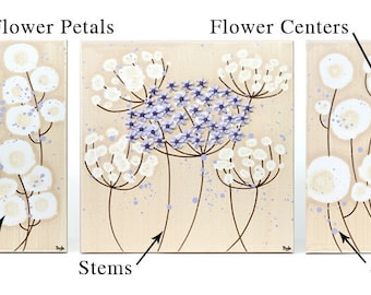 Custom Flower Wall Art on Set of Three Canvases - Choose Your Colors - Medium 32x10