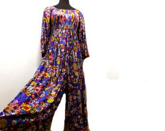 Vintage 70s Purple Nylon Floral Jumpsuit Flare Kimono Sleeve Wide Leg Hippie Festival Loose Lounge M Medium