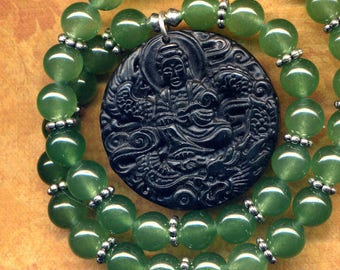 Huge Buddha Necklace, Green Onyx Necklace, Black Onyx Carved Buddha Pendant Necklace, Dragon Necklace, Handmade Nepal Jewelry by AnnaArt72