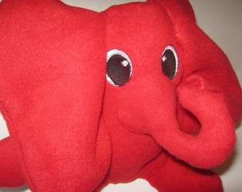 Wide Eyed Elephant Plushie Stuffed Animal Embroidered Eyes Various Colors Child Travel Toy  Nursery No Buttons Washable Red Pink Yellow Gray