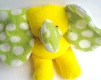 Bright Yellow Orange Baby Elephant  Stuffed Animal Washable Soft Plush Baby El Travel Toy Nursery Handcrafted Plushie