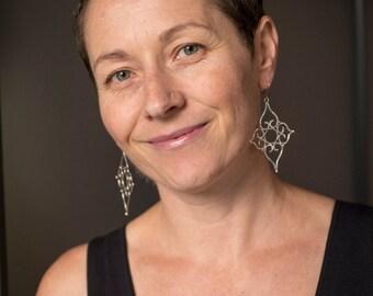 Marina Filigree Earrings in Oxidized Silver & 18k Gold