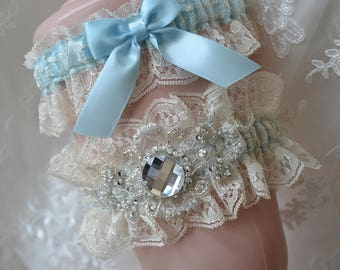 Wedding Garter,Light Blue Garter, Blue Garter Set, Heirloom Garter-Lace Garter