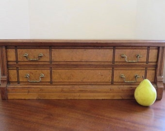 Victorian Walnut Wood Two Draw Jewelry Case/Silver Chest