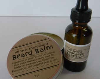 Handcrafted - 1 Ounce Beard Oil and 2 Ounce Beard Balm Combination - Palm Free