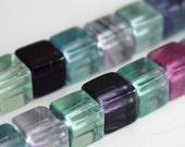 STOREWIDE SALE Rainbow Fluorite Beads 6mm Cube  - 12 beads