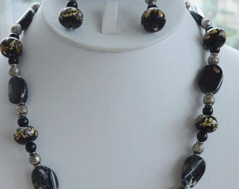 On sale Pretty Handcrafted Semi-Precious, Porcelain Beaded Necklace Set, Pierced Earrings, Silver tone