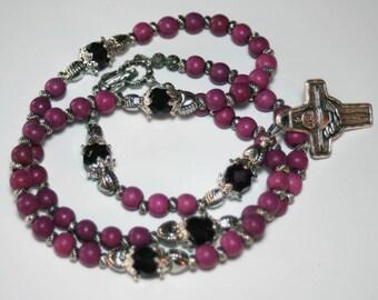 Purple Plum Howlite Gemstone Catholic First Communion Rosary