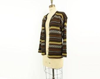 Nordic Wool Sweater, 60s Vintage Cardigan, Fair Isle Cardigan, Brown Sweater, Men Small Sweater, Scandinavian Sweater, Apres Ski Sweater s/m