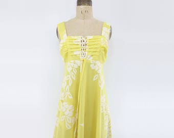 Yellow Maxi Dress 70s Hawaiian Dress Yellow Sun Dress Boho Maxi Dress 70s Summer Dress Laced Maxi Dress Vintage Tank Dress m