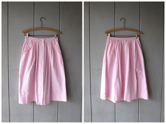 Vintage 80s Pink Skirt Knee Length Cotton Skirt High Rise Preppy Skirt A line Pastel Spring Skirt Apron Pockets Mini Skirt DES Small