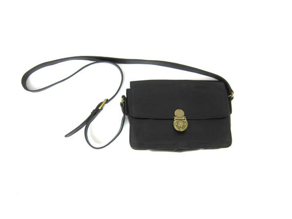 90s Small Black Leather Purse with Crossbody Strap Preppy Enzo Angiolini Bag Vintage Simple Cross Body Preppy Across Body Purse