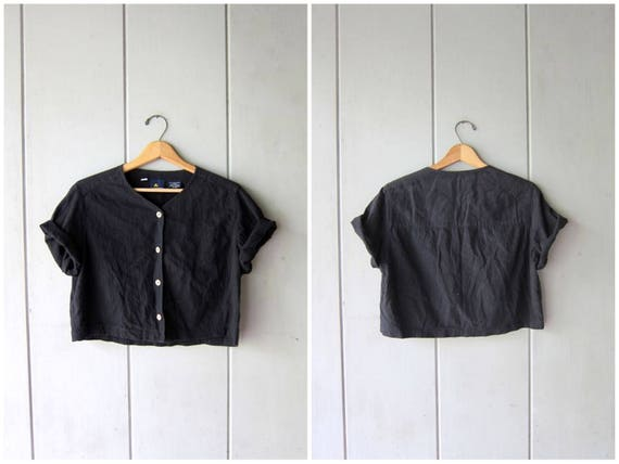 90s Cropped Black Top Button Up THIN Cotton Shirt Vintage Minimal Boxy Shirt Modern Crop Top Short Sleeve Cotton Tee Womens Small