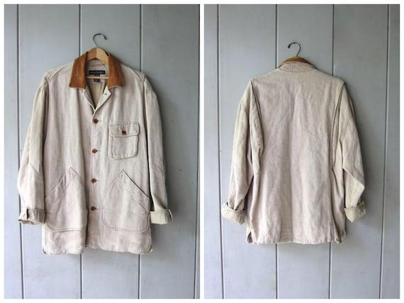 Minimal LINEN Barn Coat 90s Mens Casual Chore Jacket Natural Linen Ranch Coat Spring Lined Beige Field Coat Modern Linen Jacket Mens Small