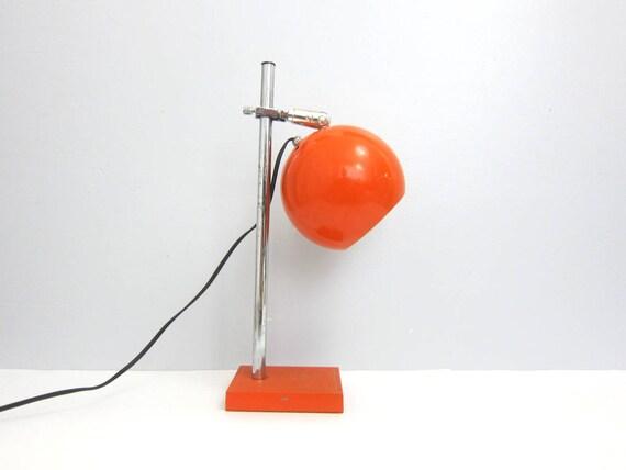Vintage 1960s Orange metal Round Orb Lamp Industrial Retro Modern Light Eyeball Lamp Space Age Adjustable Table Desk Lamp GS