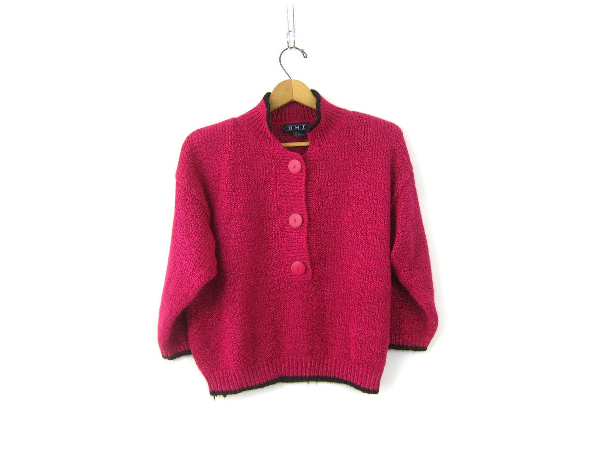 Vintage 1980s pink sweater preppy knit Henley sweater top pullover ...