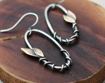Leaf & Vine Earrings, Silver, Brass