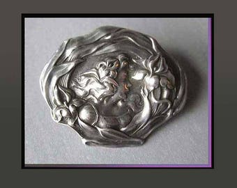 Rainbow GODDESS, Iris, Unger Brothers Antique Art Nouveau, Sterling Silver Brooch, Beautifully Detailed Portrait, Vintage Jewelry, Women