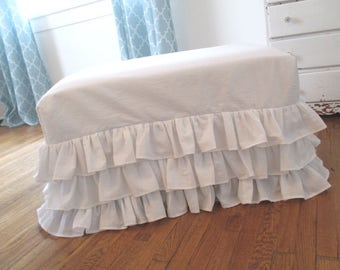 Ruffled Ottoman Slipcover * Handmade * Shabby Chic * Cottage * White