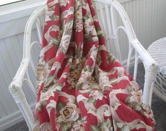 Vintage Barkcloth Panel * Roses * White Magnolias * Floral Bouquets * Shabby Cottage * Curtain Drape Fabric