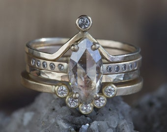 Natural Rose Cut Champagne Marquis Diamond Ring