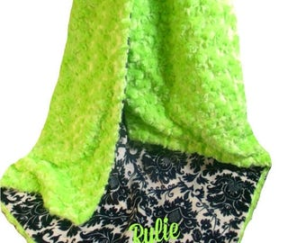 Photoprop CLEARANCE Green and Black Damask Minky Baby Blanket, Kiwi Rose Swirl Baby Blanket, Black and Lime Minky Blanket, Lime Minky Dimple