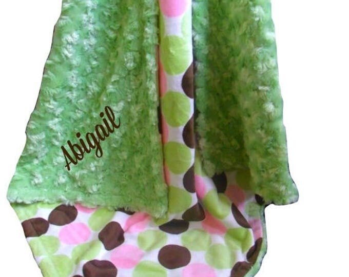 Photoprop CLEARANCE Pink and Brown Polka Dot Minky Dot Blanket, Pink Brown Mod Dot Minky Baby Blanket