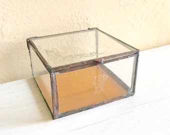 Vintage Metal Framed Glass Trinket Box with Gold and Frosted Image