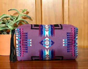 Wool Clutch Unlined / Travel Bag /Cosmetic Bag Large Purple Southwest Tribal Handcrafted From Pendleton Woolen Mill Fabric