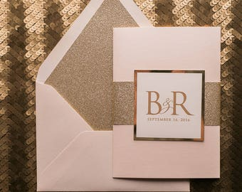 Digital - Fancy Blush and Gold Glitter Gatefold Wedding Invitations - SAMPLE (THERESA)